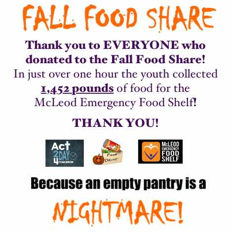 Thank You for donations for Fall Food Share!